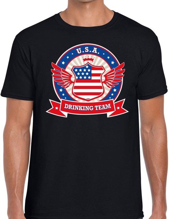 Zwart USA drinking team t-shirt zwart heren -  Amerika kleding M