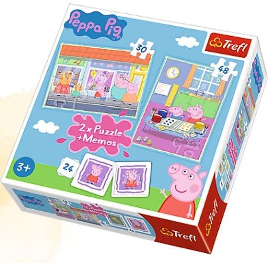 2 in 1 puzzel + geheugenspel - Peppa's dag/ Peppa Pig Legpuzzel