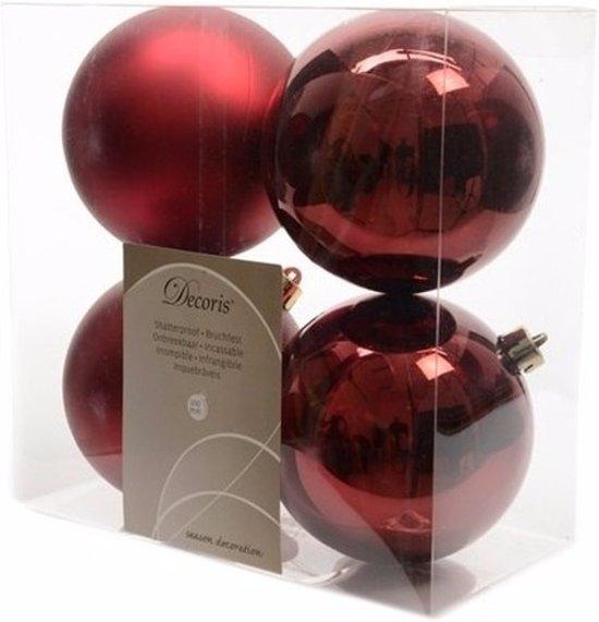Bol Com Onbreekbare Donker Rode Kerstballen 10 Cm 8 Stuks