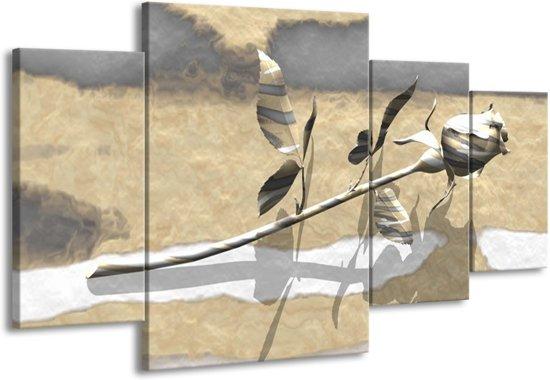 Canvas schilderij Roos | Grijs, Wit, Geel | 160x90cm 4Luik