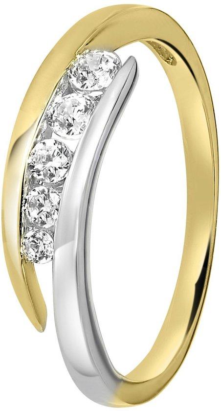 Lucardi - 14 Karaat gouden bicolor ring met 5 zirkonia