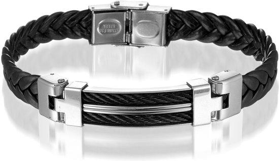 bol   montebello armband sidelcea - heren - leer - staal - 22 cm