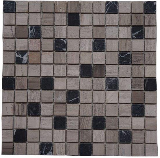 mozaiek tegel marmer 30x30 grijs zwart