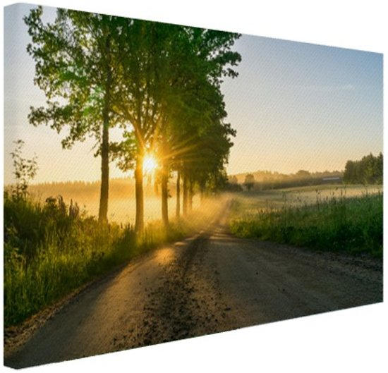 Zonsopkomst door de bomen Canvas 30x20 cm - Foto print op Canvas schilderij (Wanddecoratie)