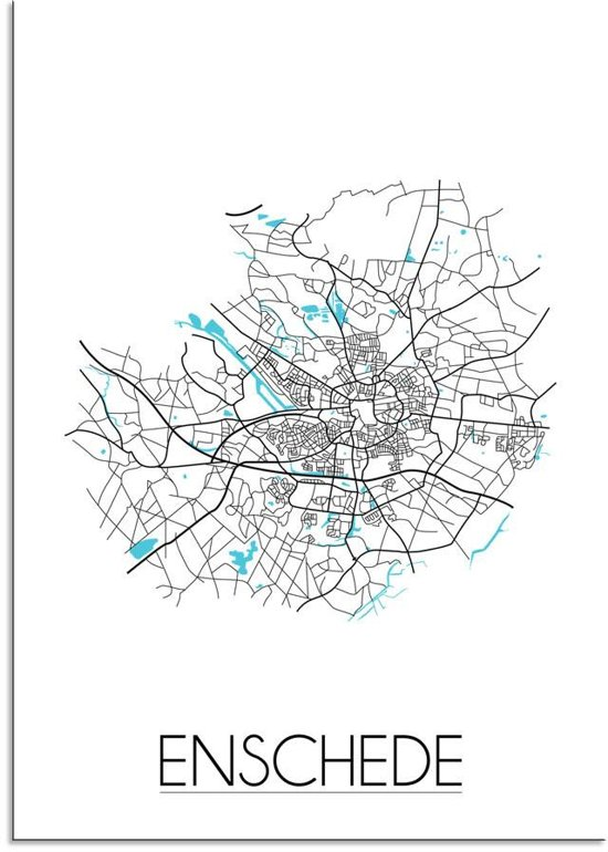 Plattegrond Enschede Stadskaart poster DesignClaud - Wit - A3 poster