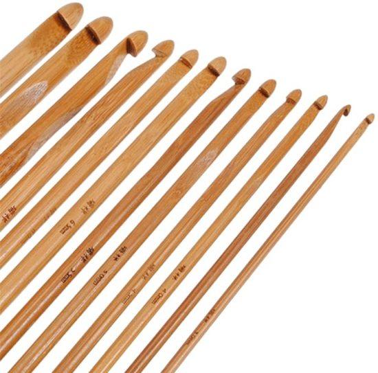 WiseGoods - Premium 12-Delige Ergonomische Bamboe Haaknaaldenset - Haken - Bamboo Crochet / Haaknaaldenset - 12 Verschillende Maten