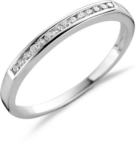 Majestine 925 Zilveren Eternity Ring met Diamant 0.10ct Maat 54