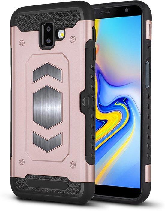 Ntech Samsung Galaxy J6 (2018) Luxe Armor Case Pashouder - Rose Goud