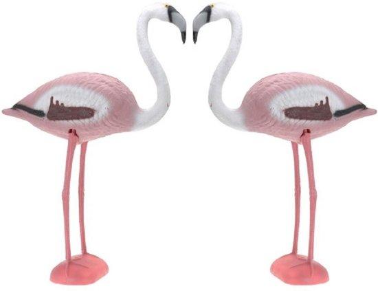 2x Decoratieve Flamingo 80 cm - Tuindecoratie beelden - Tropisch feest decoratie - Dieren beeld flamingo