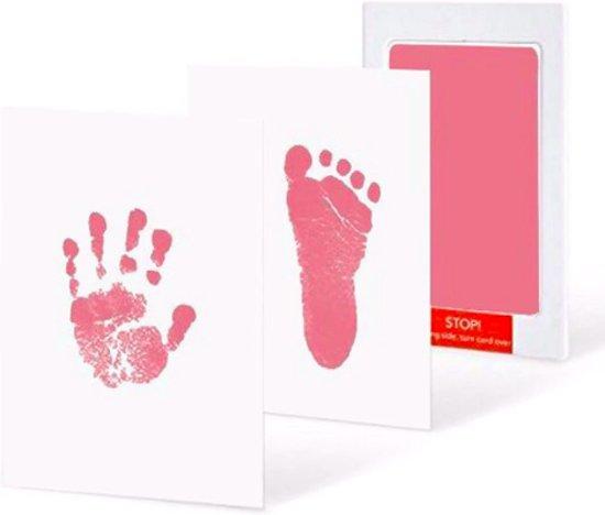 Baby voetafdruk en baby handafdruk inkt -baby cadeau(Roze)