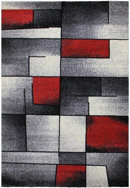 vloerkleed grijs met rood