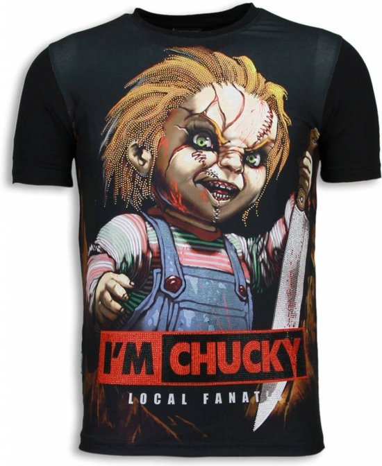 Local Fanatic I´m Chucky - Digital Rhinestone T-shirt - Zwart - Maten: S