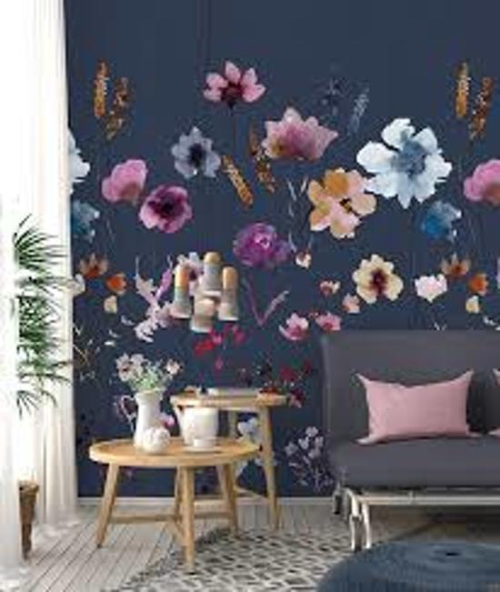 Behang poster Colorful Florals en retro meadow love blue