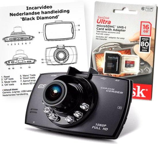 Dashcam Black Diamond incl. 16Gb Sandisk Micro-SD kaart en Nederlandse handleiding