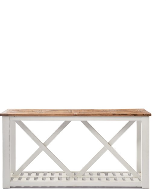 Sidetable 160 Cm.Riviera Maison Chateau Chassigny Side Table With Shelf Bijzettafel 160 X 46 Cm Wit Hout