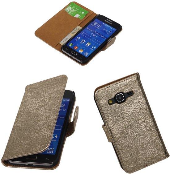 Goud bloem Samsung Galaxy Grand Neo wallet book case in Helhuizen