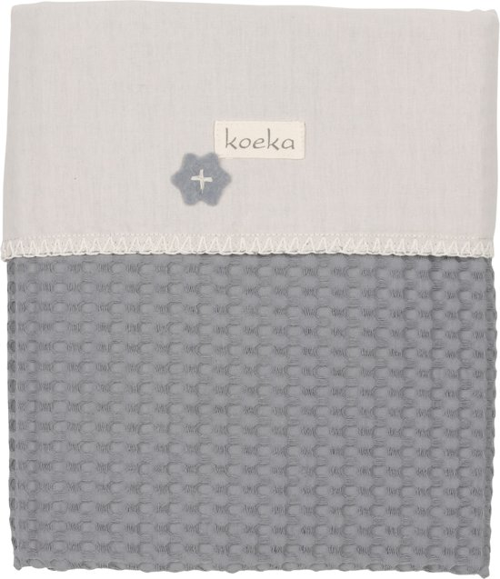 Koeka - Ledikantdeken wafel/flanel Antwerp - Steel Grey/Pebble