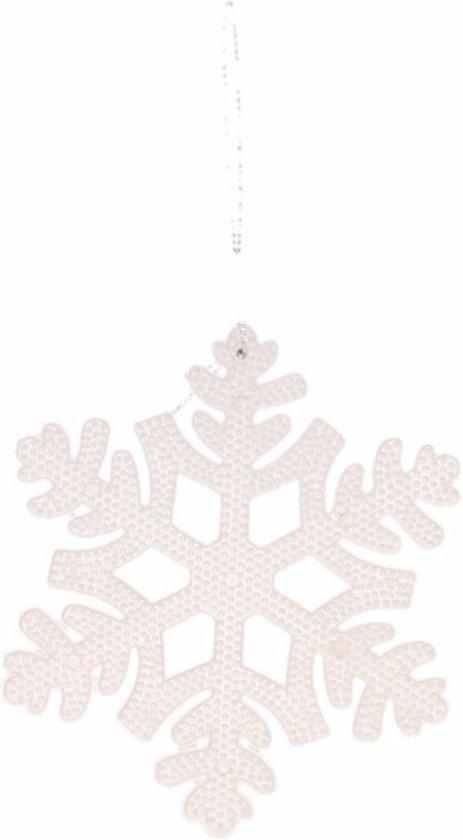 Kerstboom decoratie witte sneeuwvlok hanger 10 cm type 1 Valentinaa