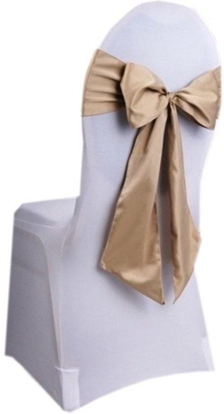 Bruiloft stoel decoratie gouden strik huwelijk for Gouden bruiloft versiering