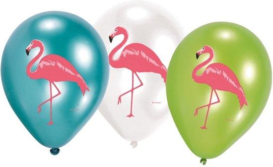 6x Flamingo print ballonnen 27 cm Valentinaa