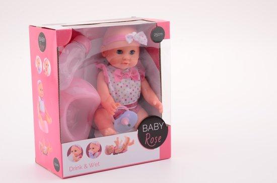 Baby Rose drink- en plaspop 25cm - Babypop
