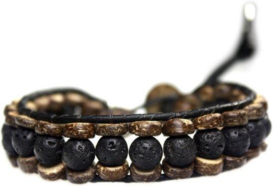 Bela Donaco Armband Classic B8 – Zwart – Lavasteen – kokos – leer