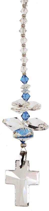 JwelU Suncatcher Crystal Swarovski Cross Crystal Sapphire