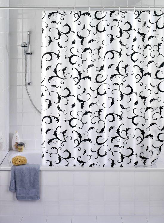 Douchegordijn Barok wit-zwart 180 x 200 cm