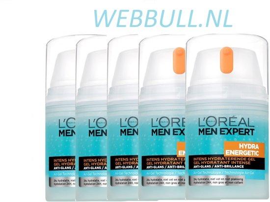 5 X L'Oréal Paris Men Expert Hydra Energetic Intens Hydraterende Gel - vette huid - 50ml - Gezichtscrème
