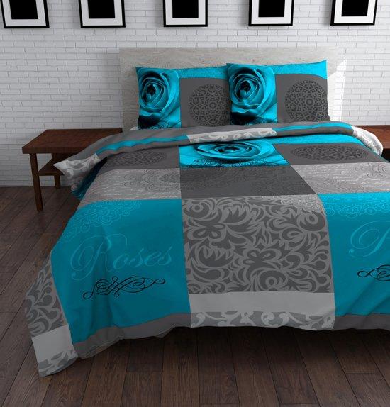 bol com   Text Rose flanel dekbedovertrek   Turquoise   1 persoons (140×200  220 cm + 1 sloop)