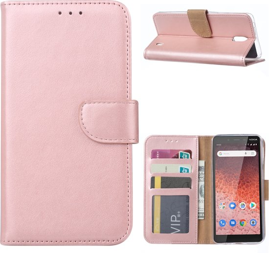 Nokia 6 Portemonnee hoesje book case Pink