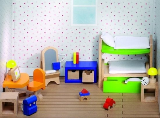 Bol.com goki houten poppenhuis kinderkamer 28 delig goki speelgoed