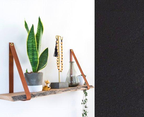 Leren plankdragers - Zwart