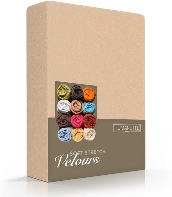 Fluweel Zachte Velours Hoeslaken Zand | 160x220 | Super Comfortabel | Uitstekende Pasvorm