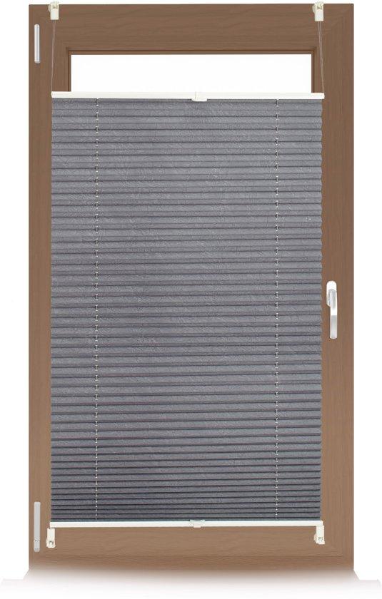 relaxdays plissegordijn pliss jaloezie grijs zonder boren opvouwbaar vers maten 60x130cm