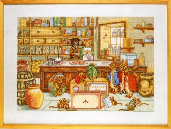 borduurpakket 70-3405 beatrix potter, peter rabbit's shop