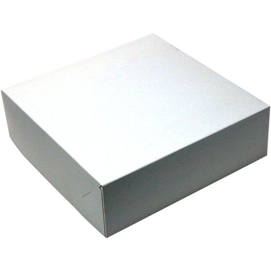 Gebaksdoos, Karton, 25x25x8cm, duplex, wit