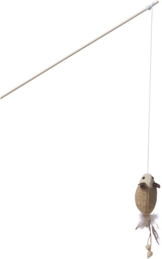 Adori Hengel Muis Met Veren - Kattenspeelgoed - Bruin