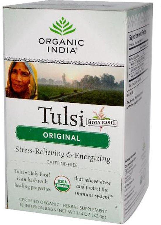 Originele Tulsi Heilige Basilicum (Holy Basil) thee, cafeïne-vrij, 18 infusion thee zakjes (32.4 g) - Organic India