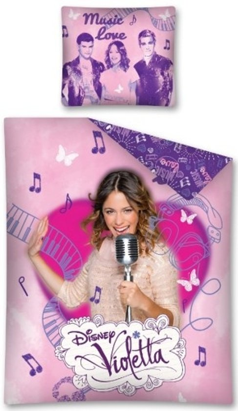 bol com   Disney Violetta Vlinder muzieknoten   Dekbedovertrek   Eenpersoons   140×200 cm   Paars