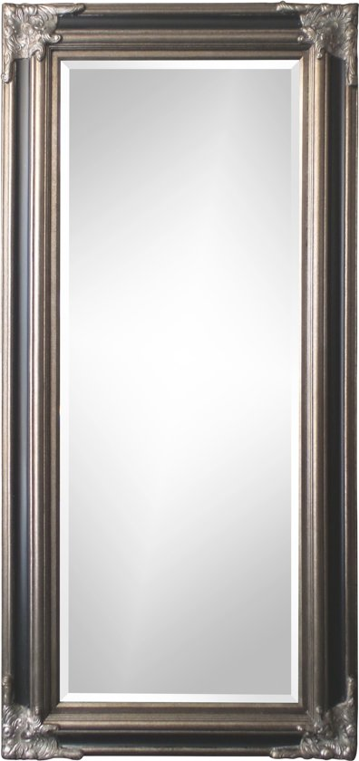 Spiegel - Paola- zwart / antiek zilver - buitenmaten breed 130 cm x hoog 230 cm.