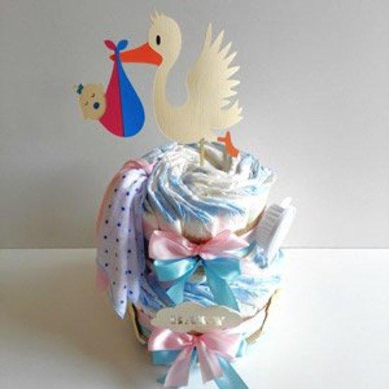Luiertaart Ooievaar Baby Jongen & Meisje | Kraamcadeau | Kraampakket | Baby Cadeau