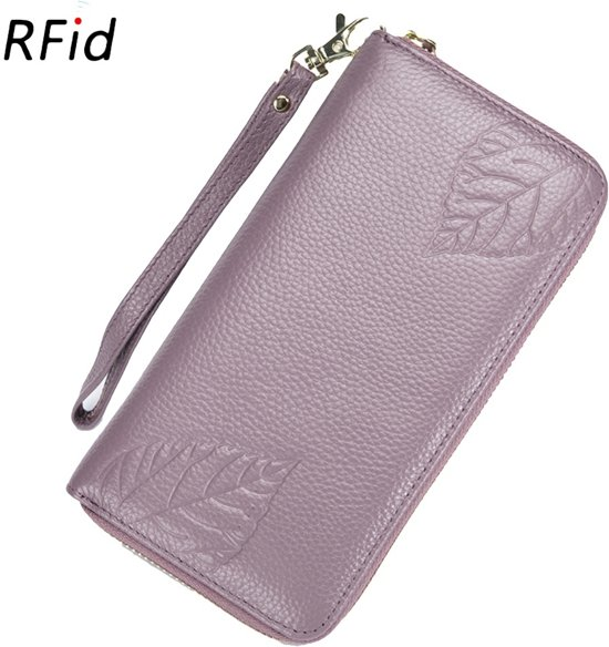 3fb889e5e89 B Echt Leer Dames Portemonnee   RFID Creditcard Passport Protector    Clutche   Travel