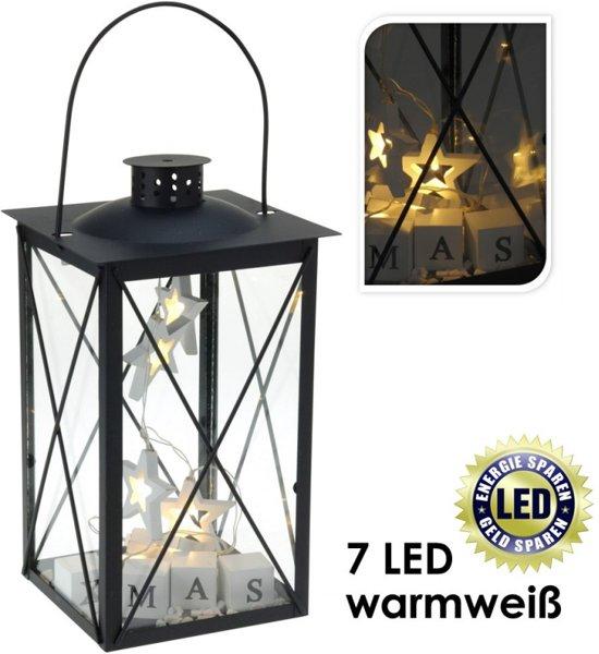 Zwarte Lantaarn met 7 LED's, warm wit, kerstdeco, H = 40cm, x B =17cm