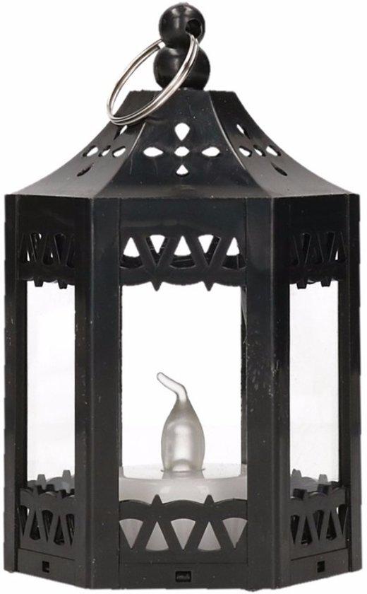 Decoratie lantaarn zwart met LED verlichting 10 cm Valentinaa