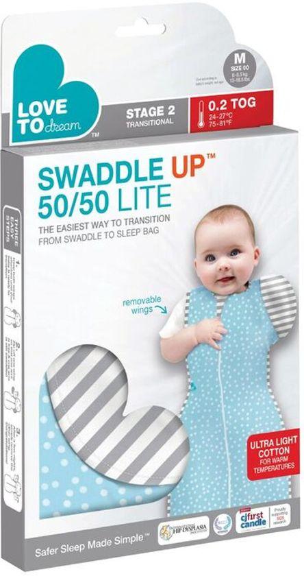 Love to dream - Swaddle UP inbakerslaapzak 50/50 LITE medium aqua