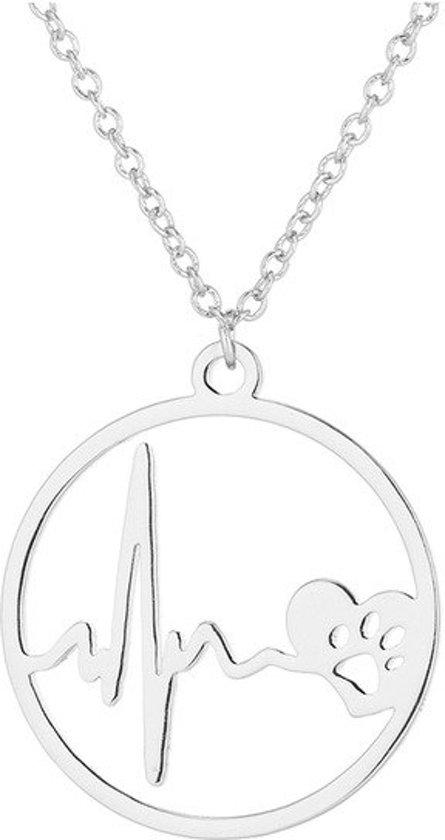 24/7 Jewelry Collection Hartslag Hondenpoot Ketting - Cirkel - Zilverkleurig
