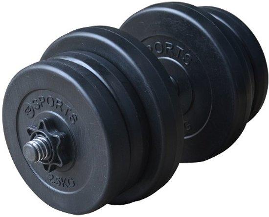 RS Sports Dumbellset – Halterset kunststof – Totaal 20 kg – zwart