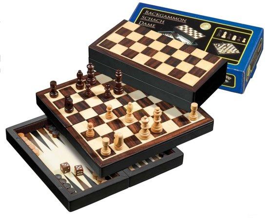 Reis Schaak/Dam/Backgammon Kassette Veld 22 mm, Koningshoogte 42 mm Magnetisch