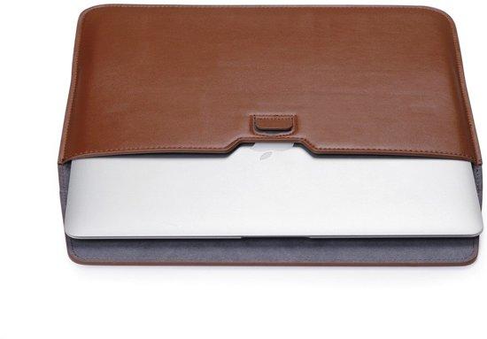 Shop4 - MacBook Air 13-inch (2010-2017) Hoes - Sleeve met Stand Lychee Bruin